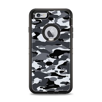 The Traditional Black & White Camo Apple iPhone 6 Plus Otterbox Defender Case Skin Set
