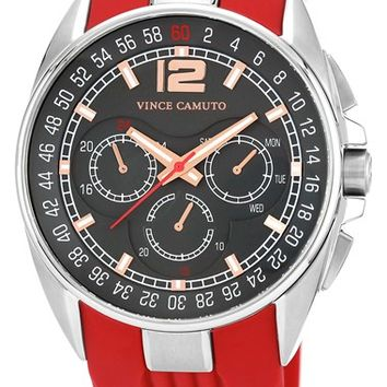 Men's Vince Camuto Multifunction Silicone Strap Watch, 47mm - Red/ Silver