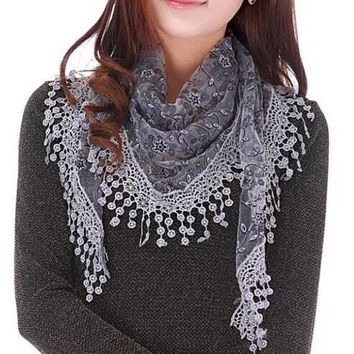 women sheer lace crochet trim shawl scarf 2