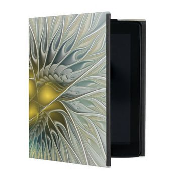 Golden Silver Flower Fantasy abstract Fractal Art iPad Case