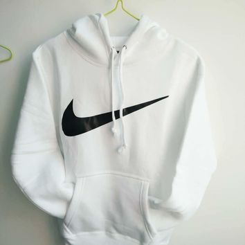 NIKE White cotton round neck long-sleeved sweater autumn skateboard street men and women lovers section G-1