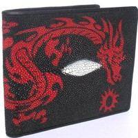 100% GENUINE STINGRAY SKIN LEATHER BIFOLD WALLET WITH DRAGON (BEST SELLER IN U.S.A.) *BRAND NEW* FIN
