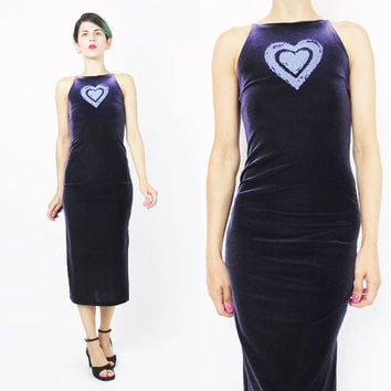 90s Bodycon Velvet Dress Glitter Heart Dark Purple Dress Raver Grunge Club Kid Petites Sleeveless Womens Vintage Purple Velvet Dress (XS)