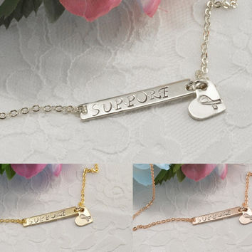 Breast Cancer Bar Heart Necklace Bracelet Anklet Delicate Hand Stamped Jewelry