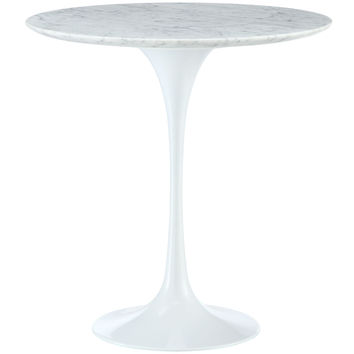 LexMod Eero Saarinen Style White Tulip Side Table with Marble Top