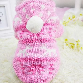 Winter Pet Clothes Keep Warm Dog Clothing Puppy Dog Knit Sweaters Hooded Christmas Costume For Small Chihuahua Yorkie XS-2XL