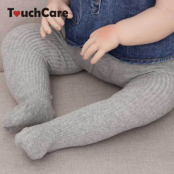 Rib Knit Baby Tights Cotton Solid