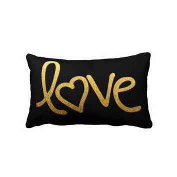 gold love with heart pillow from Zazzle.com