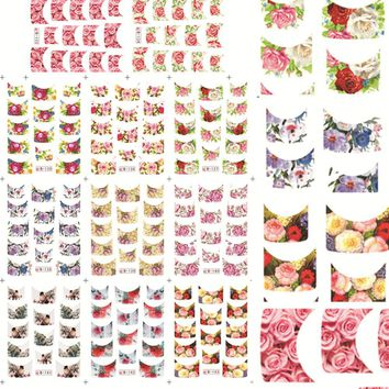 1sets 11designs Nail Art Sets French Tips Flower Beauty Water Transfer Foils Nail Art Stickers Nails Finger WrapsB133-143