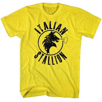 Rocky T-Shirt Distressed Black Italian Stallion Yellow Tee