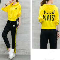 """Adidas"" Women Casual Letter Print Webbing Cardigan Hooded Long Sleeve Trousers Set Two-Piece Sportswear"