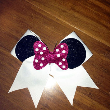 2inch Minnie Cheer Bow hot pink bow no rhinestones by BowsByEm