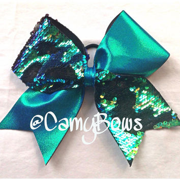 Sequin Cheer Bow Reversible Blue Green Gold and Black
