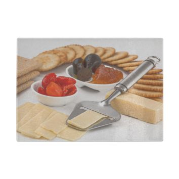 Cheese And Crackers Glass Cutting Board