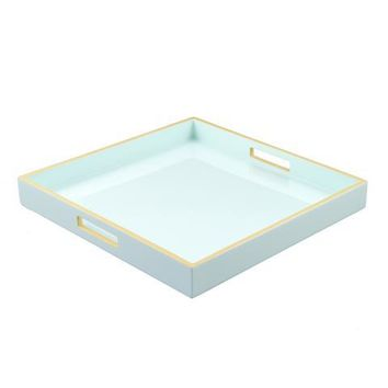 Duck Egg with Beige Trim Lacquer Large Square Serving Tray