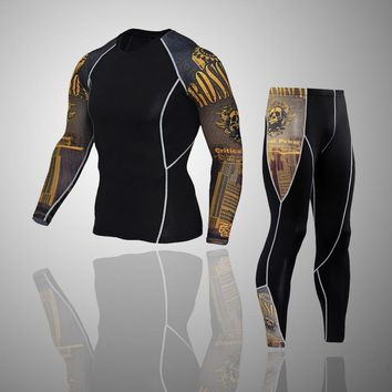 Mens Sports Running Set Compression Skin-Tight Fitness Rashguard MMA Training Clothes Gym Yoga Suits Integrated training clothes
