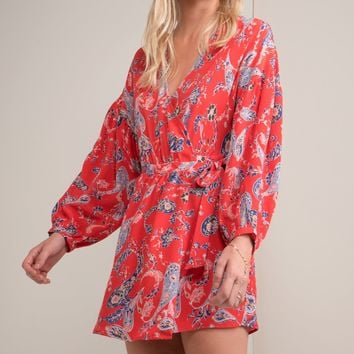 Sidney Silk Poet Sleeve Wrap Dress
