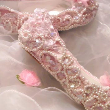 Flower Girls Bridal Lace Baby Shoes, Pink Lace Shoes, Flower Girl Shoes, Keepsake shoes