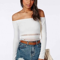 Missguided - Cut out Hem Bardot Crop Top White