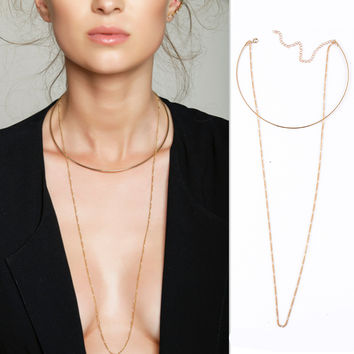 Metal Loops Open Collar Necklace