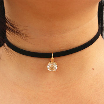 N933 Choker Necklaces Women Black Velvet Suede Leather Chain Short Collares Zircon Fashion Jewelry Gothic 90's Bijoux ras de cou