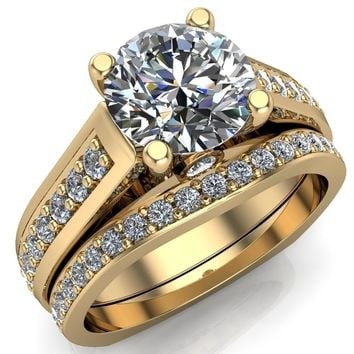 Cathy Round Moissanite 4-Prong Setting with Round Bezel Accent with Diamond Shoulder Cathedral Euro Shank Solitaire Ring
