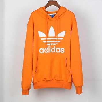 Adidas Autumn Winter Trending Women Men Casual Print Long Sleeve Hoodie Sweater Top Sweatshirt Orange