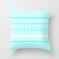 Blue Aztec Throw Pillow by Ornaart