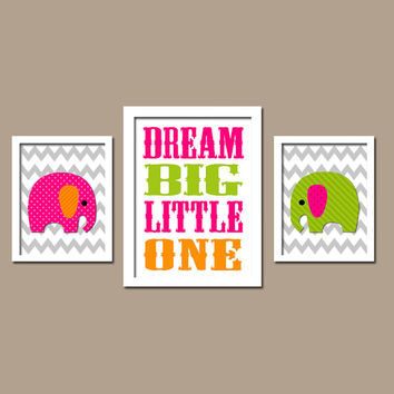 Colorful Bold Jungle Safari Elephant Dream Big Little One Quote Chevron Pattern Set of 3 Trio Prints Decor WALL ART Boy Girl Baby Bedroom
