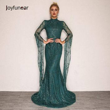 Joyfunear New Autumn Vintage Party Dress 2018  Mermaid Sequin Bodycon Women Dress Elegant casual Long Dresses Robe Femme Vestido