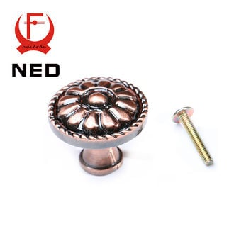 Ned-Rb6618 Retro Red Bronze Kitchen Cabinet Knobs Door Cupboard Zinc Alloy Handles Wardrobe Furniture Single Handle Drawer Pulls