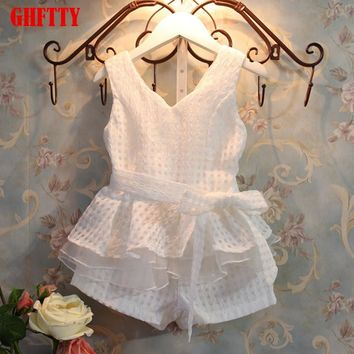 girls dress retail new 2017 girls clothes summer fashion children's vests set suit 2~7 years old children clothing for girl