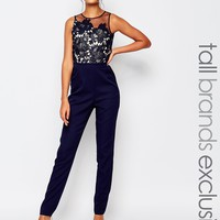 Little Mistress Tall Scallop Lace Tailored Jumpsuit With Floral Embroidery at asos.com