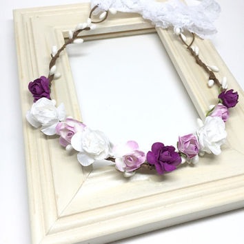 Baby Fall Flower Crown - lilac, white & plum, baby flower halo, flower girl headband, baby girl headband, boho halo, baby photo prop