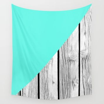 Aqua Blue vs Old Weathered Wood Wall Tapestry by ARTbyJWP