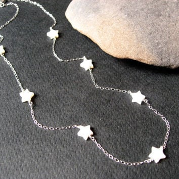 White MOP Star Necklace, 925 Sterling Silver, Minimal Necklace, Bridesmaid Gift, Delicate Jewelry, Dainty Thin Chain, 7 Star Necklace