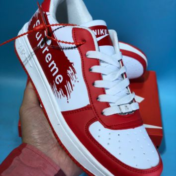 DCCK N778 Nike Air Force 1 AF1 Off White Supreme Comfortable Sport Skate Shoes Red White
