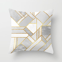 Gold City Throw Pillow by Elisabeth Fredriksson