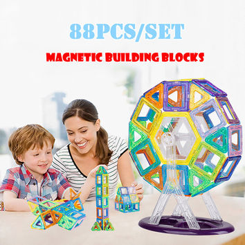 Magnetic Toy 88PCS Mini Magnetic Models & Building Blocks Construction Designer Set Children Educational Toys