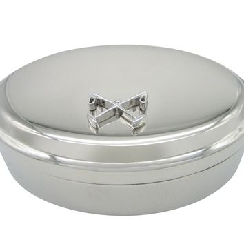 Crossed Polo Mallets Horse Riding Equestrian Oval Trinket Jewelry Box