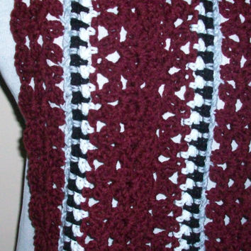 Multicolored Scarf; Burgundy, Black and White with Fringe; Handmade Crochet with Acrylic Yarn