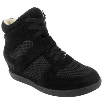 Qupid Patrol-26 Faux Suede Vegan Wedge Sneakers (black suede PU, clearance) Size 7.5m