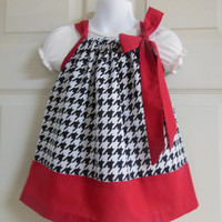 Pillowcase Dress Houndstooth and Red Alabama Colors Custom Sizes NB-6yrs