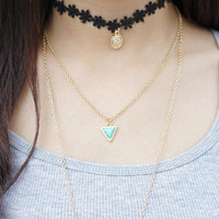 Gold Layered Necklace, Gold Feather Charm Necklace, Triangle Turquoise Necklace, Black Flower Lace Choker