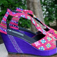 T Strap Wedge Heel Womens Sandals, Vegan Shoes In Ethnic Karen Hand Woven Textiles Boho Shoes - Hilary