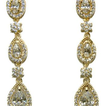 Trina Tree Pear Drop Linear Gold Chandelier Earrings | 10ct | Cubic Zirconia | Gold