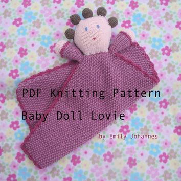 Baby Doll Lovie PDF Knitting Pattern, Dolly Lovey, Security Blanket, Baby Girl