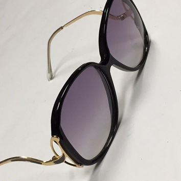 60s Drop Temple Oversized Sunglasses by | Designer Style Bugeye Purple Violet fade Lens Gold Black Frames 1970s