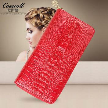 Genuine Leather Wallet Women Luxury Brand Alligator Vintage Zipper Women's Wallets and Purses Designer Female Slim Coin Purse