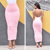 High Waist Bodycon Maxi Skirt